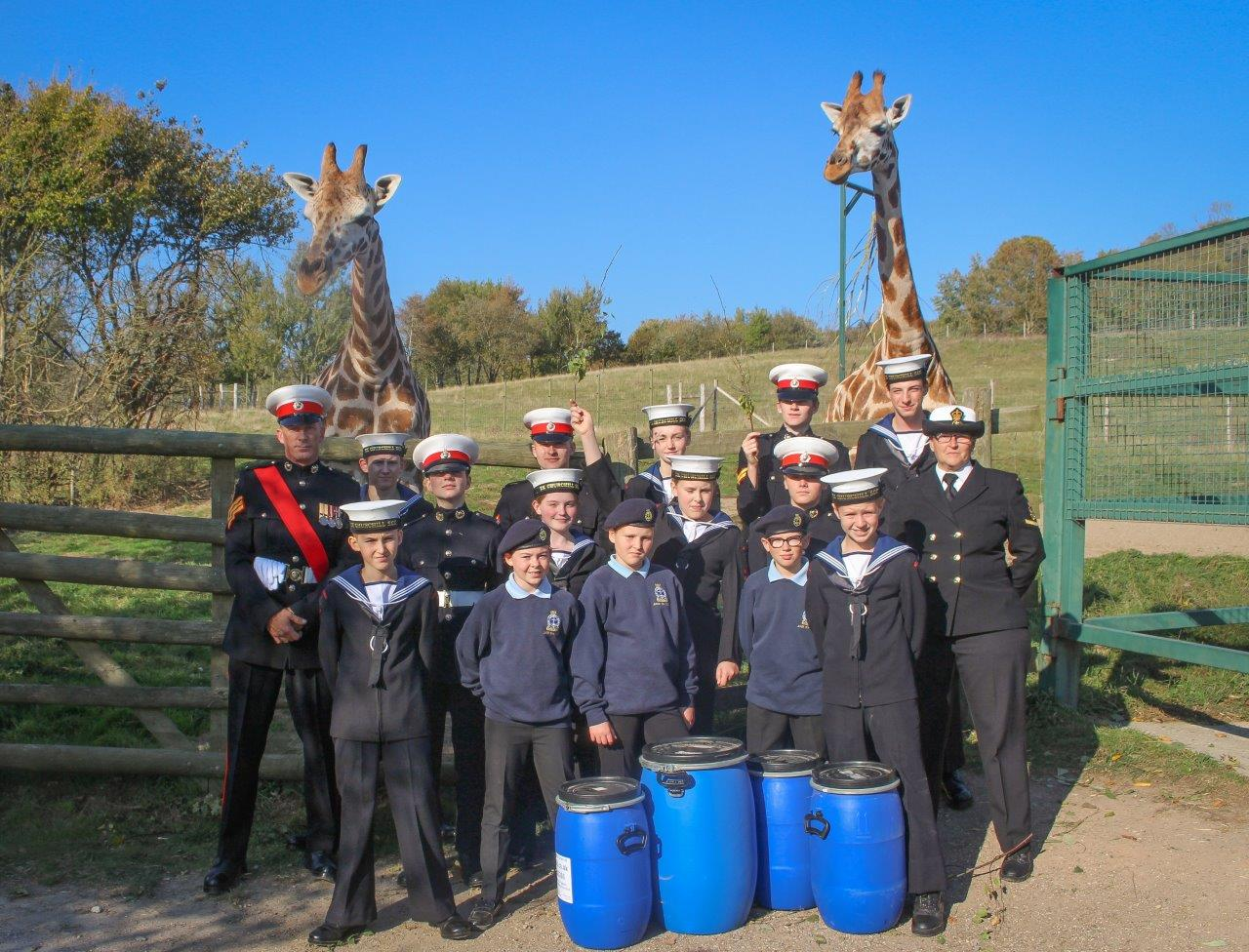 TS Churchill Sea and Marine Cadets Hard Work Leaf Picking For Giraffe Rewarded at Port Lympne Hotel & Reserve